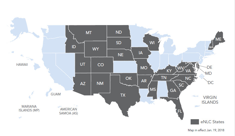 Compact State Map.Nursing Licensure Compact